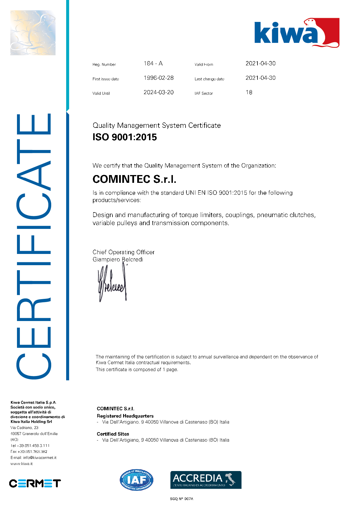 Quality Management System Certificate ISO-9001 - ComInTec